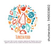 turkish food hand drawn circle... | Shutterstock . vector #540033802