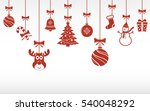 christmas red ornaments hanging.... | Shutterstock . vector #540048292