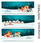 three christmas festive banners ... | Shutterstock .eps vector #540078832