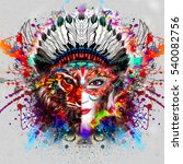 abstract and mystic woman face | Shutterstock . vector #540082756