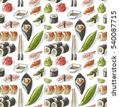 seamless pattern with sushi | Shutterstock .eps vector #540087715