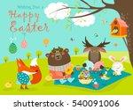 animals celebrating easter | Shutterstock .eps vector #540091006