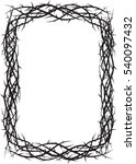 Frame of thorns, crown of thorns, background border for the Lent season, graphic element, black and white vector illustration.