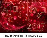 new year clock on red... | Shutterstock .eps vector #540108682
