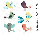 set of cute cartoon birds... | Shutterstock .eps vector #540118258