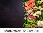 fresh vegetables  fruits  fish  ... | Shutterstock . vector #540125218