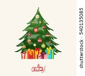 christmas tree with balls and... | Shutterstock .eps vector #540135085