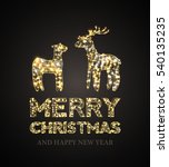 Christmas Card With Gold Deer...