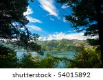 Marlborough Sounds as seen from Queen Charlotte Track - stock photo
