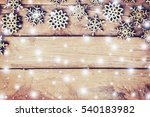 wood christmas decoration with... | Shutterstock . vector #540183982