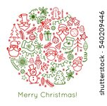 merry christmas. hand drawn... | Shutterstock . vector #540209446