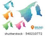 set of vector polygonal brunei... | Shutterstock .eps vector #540210772