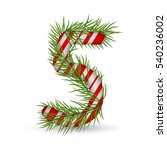 christmas number 5  candy cane... | Shutterstock .eps vector #540236002