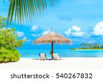 tropical beach in maldives with ... | Shutterstock . vector #540267832
