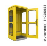 Yellow Telephone Booth. 3d...