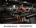 sporty girl on running track on ... | Shutterstock . vector #540284932
