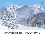 winter mountain landscape.... | Shutterstock .eps vector #540298948
