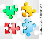 volume pieces of puzzle. vector | Shutterstock .eps vector #540305512