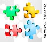 volume pieces of puzzle. vector | Shutterstock .eps vector #540305512