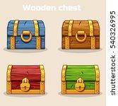 closed colored wooden treasure...