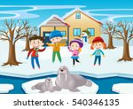scene with kids and walrus in... | Shutterstock .eps vector #540346135