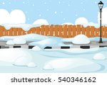scene with snow on the street... | Shutterstock .eps vector #540346162