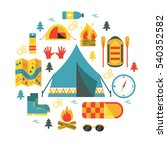 camping. round vector... | Shutterstock .eps vector #540352582