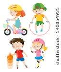 kids doing different types of... | Shutterstock .eps vector #540354925