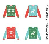 set of ugly christmas sweaters... | Shutterstock .eps vector #540355012