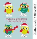 funny owls on ice skates. set... | Shutterstock .eps vector #540368896