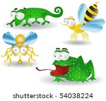 frog bee fly chameleon cartoon... | Shutterstock .eps vector #54038224