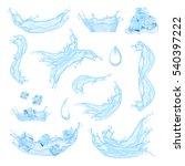 blue water splash with ice... | Shutterstock .eps vector #540397222