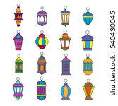 old arabic light lamp set.... | Shutterstock .eps vector #540430045