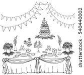 vector doodle in black lines... | Shutterstock .eps vector #540440002