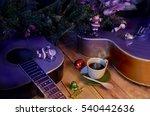hot coffee drink  in happy new... | Shutterstock . vector #540442636