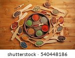 different spices in bowls and... | Shutterstock . vector #540448186