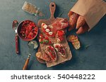 tasty bruschettas on cutting... | Shutterstock . vector #540448222