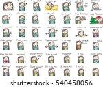 woman face emotions set | Shutterstock .eps vector #540458056