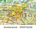 Geographic map of US city Philadelphia and other important cities