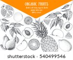 fruits top view frame. farmers... | Shutterstock .eps vector #540499546