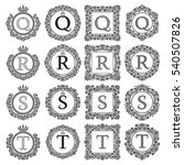 vintage monograms set of q  r ... | Shutterstock .eps vector #540507826
