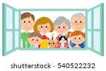 family to look out from the... | Shutterstock .eps vector #540522232