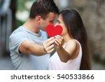 red heart in hands of beautiful ... | Shutterstock . vector #540533866