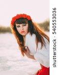 beautiful long hair brunette in ... | Shutterstock . vector #540553036