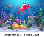 beautiful octopus  coral and... | Shutterstock .eps vector #540562525