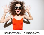 unusual model in glasses and... | Shutterstock . vector #540565696