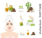 spa icons with woman with towel ... | Shutterstock .eps vector #540572608