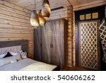 Stock photo wooden house interior bedroom 540606262