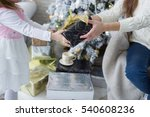 mother and daughter opening... | Shutterstock . vector #540608236