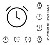 thin line clock  alarm icon on...